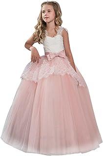 675a8837c94 Susenstone Robe Enfant Mignon Fille Ceremonie Anniversaire De Princesse  d honneur Mariage avec Bowknot Longue
