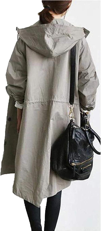 MRULIC Windjacke Damen Kapuzenjacke Kapuzenpullover Langjacke Langarm Herbst Winter Langen Mantel Jacke Tops Hoodie Trenchcoat Outing Stil Frauen Outwear Grau