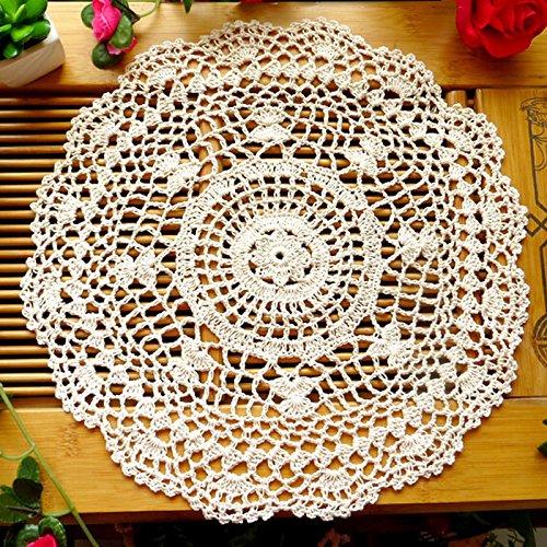 Strimusimak - Posavasos redondos de encaje para mesa de comedor, aislamiento térmico, mantel individual beige
