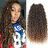 6 Packs Alimiriam New Goddess Locs Crochet Hair 18 Inch Bohemia Locs Crochet Hair Faix Locs Crochet with Curly Ends in Middle and Ends (18' 6Packs T1B/27#)