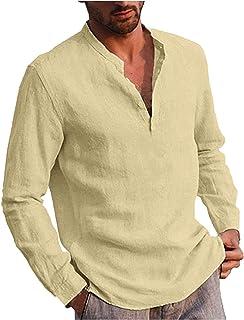 Shirt met lange mouwen voor heren, herfst en winter, vrijetijdshemd, regular fit, kraagloos shirt met halve knoopsluiting,...