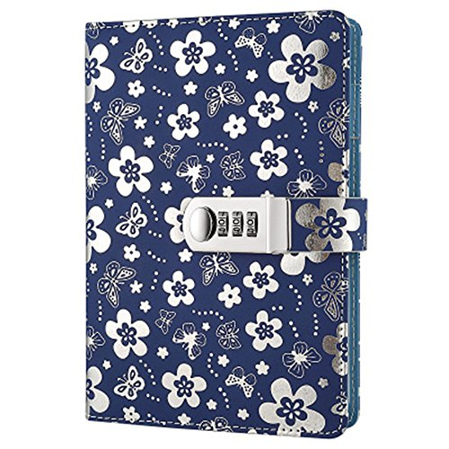 A5 PU Leather Password Lock Diary Peach Cover With Locked Notebook Journal Diary With Combination Lock Digital Password Locking Notebook (Silver)