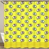 KGSPK Duschvorhang,Karikatur weißer Elefant, der einen roten blauen Schal auf gelbem Hintergr& trägt,Wasserfeste Bad Vorhang aus Polyestergewebe mit 12 Haken Duschvorhang 180x180cm