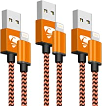iPhone Charger Aioneus 3 Pack 2M iPhone Charger Cable Nylon Braided Long Lightning Cable Fast Charging Cable Compatible with iPhone XR XS X 11 10 8 8 Plus 7 7 Plus 6s 6s Plus 6 6 Plus 5 5s SE iPad