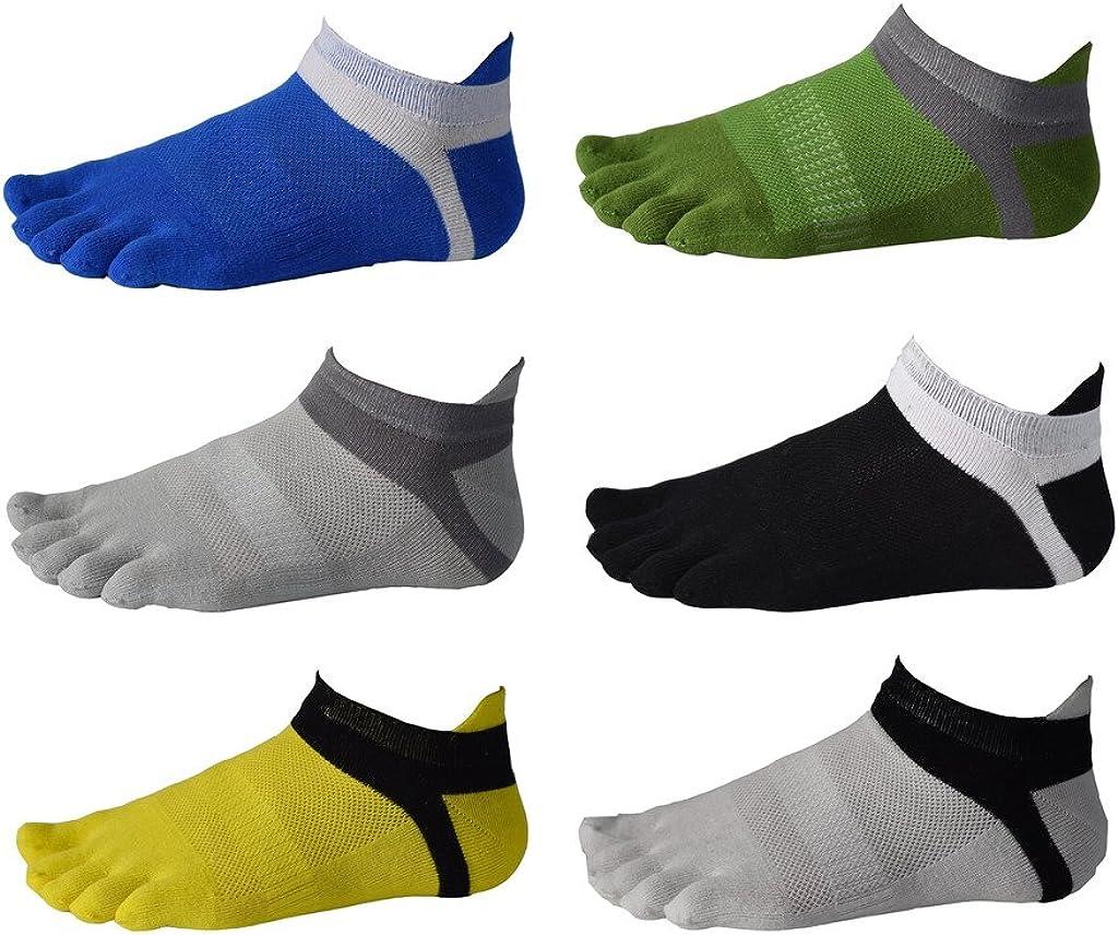 Men Cotton Low Cut Toe Socks 5 Finger No Show Mesh Wicking 6 Pack 9 Pack
