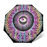 Paraguas Plegable Automático Impermeable Mandala Ojo Brillante Sagrado, Paraguas De Viaje Compacto a Prueba De Viento, Folding Umbrella, Dosel Reforzado, Mango Ergonómico