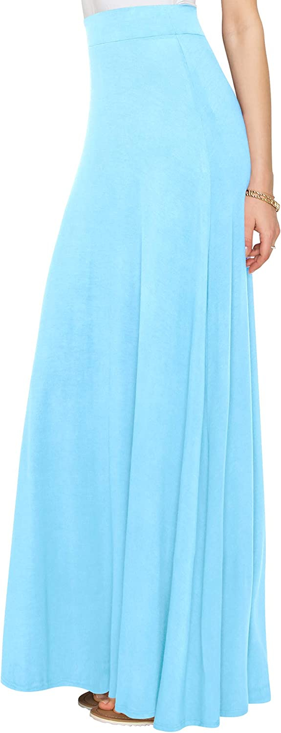 Lock and Love Women's Styleish Print/Solid High Waist Flare Long Maxi Skirt