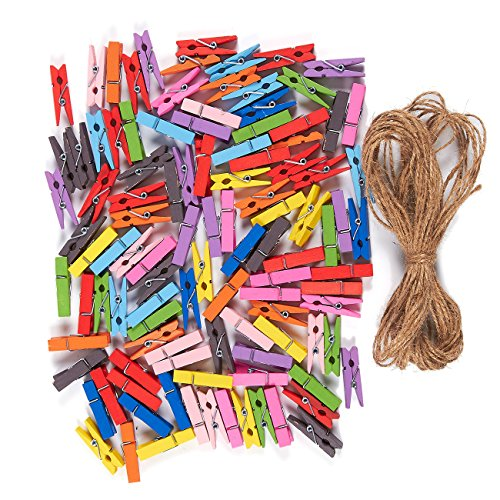Juvale Paquete de madera la ropa con yute 100string- pequeño Mini Clothespins pinzas para las artes, manualidades–4,4 x 0,6 x 0,6 cm cuerda de yute: 10,9m de longitud
