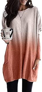neveraway Women Casual Long-Sleeve Blouse Oversized Gradient Ramp Tee Shirt