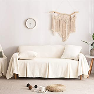 CoutureBirdal Linen Sofa Slipcover One Piece Solid Sofa Cover/Lounge Covers/Couch Covers Furniture Covers for 3 Seater Cushion Cover Stretch Cream 78x118