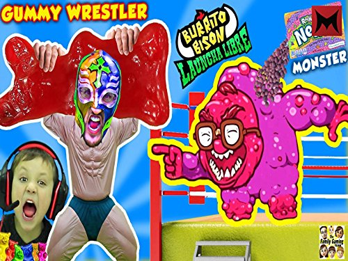 Gummy Wrestler Fights Giant Gummy Bear, Kid Eats it and Nerds Monster Battle Fgteev Launcha Libre!