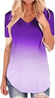 Short Sleeve T Shirts for Women Summer Plus Size V Neck Loose Fit Tunic Tops Basic Tees Casual Blouse