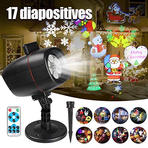 Innoo Tech Projecteur Noël LED Extérieur Lumière Etanche IP65, Projecteur led noel exterieur avec la Télécommande, 17 diapositive