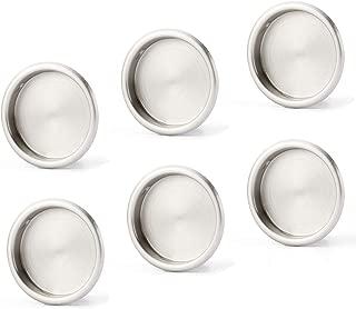 """6 Pack Closet Door Finger Pull Satin Nickel- 2-1/8"""" Round Sliding Finger Door Pull, Easy Snap in Installation"""