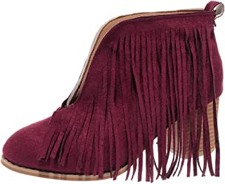 〓COOlCC〓Ankle Boot- Western Cowboy Bootie with Tassels Round Toe Block Heel Suede Retro Booties Closed Toe Low Heel Boot