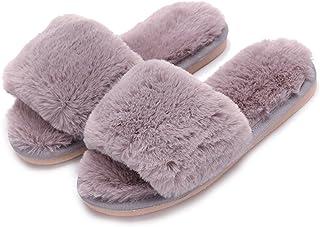 XFentech Ladies Comfortable Slip-on House Open Toe Slippers Women Kids Girls Winter Plush Fur Slipper
