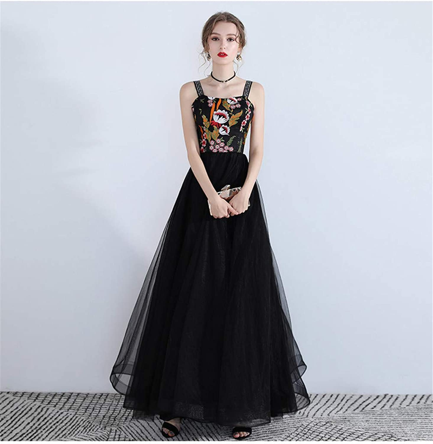 Black Evening Dress, Women Sexy Long Formal Gowns Shoulder Strap Prom Sling Skirt Wedding Outdoor Activities