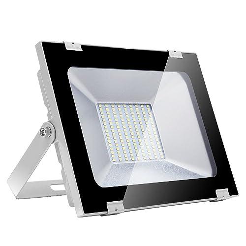Yuanline Focos LED Exterior de Blanco Frío 100W 10000LM, 6000-6600k, Ultrafino y