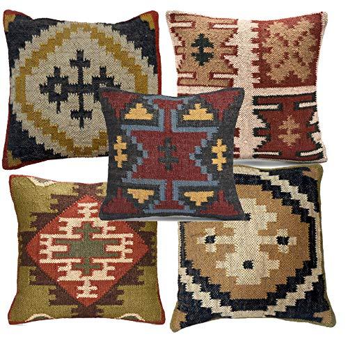 iinfinize - Funda de cojín estilo kilim, 5 unidades, hecha a mano, estilo vintage