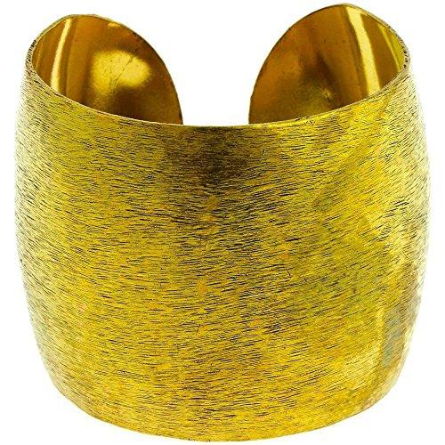 Chic-Net Messing Brass Armreif golden schraffiert breit gewölbt 64 mm nickelfrei verstellbar antik