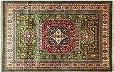 Alfombra afgana Kazak fina, 170 x 240 cm, hecha a mano, color verde