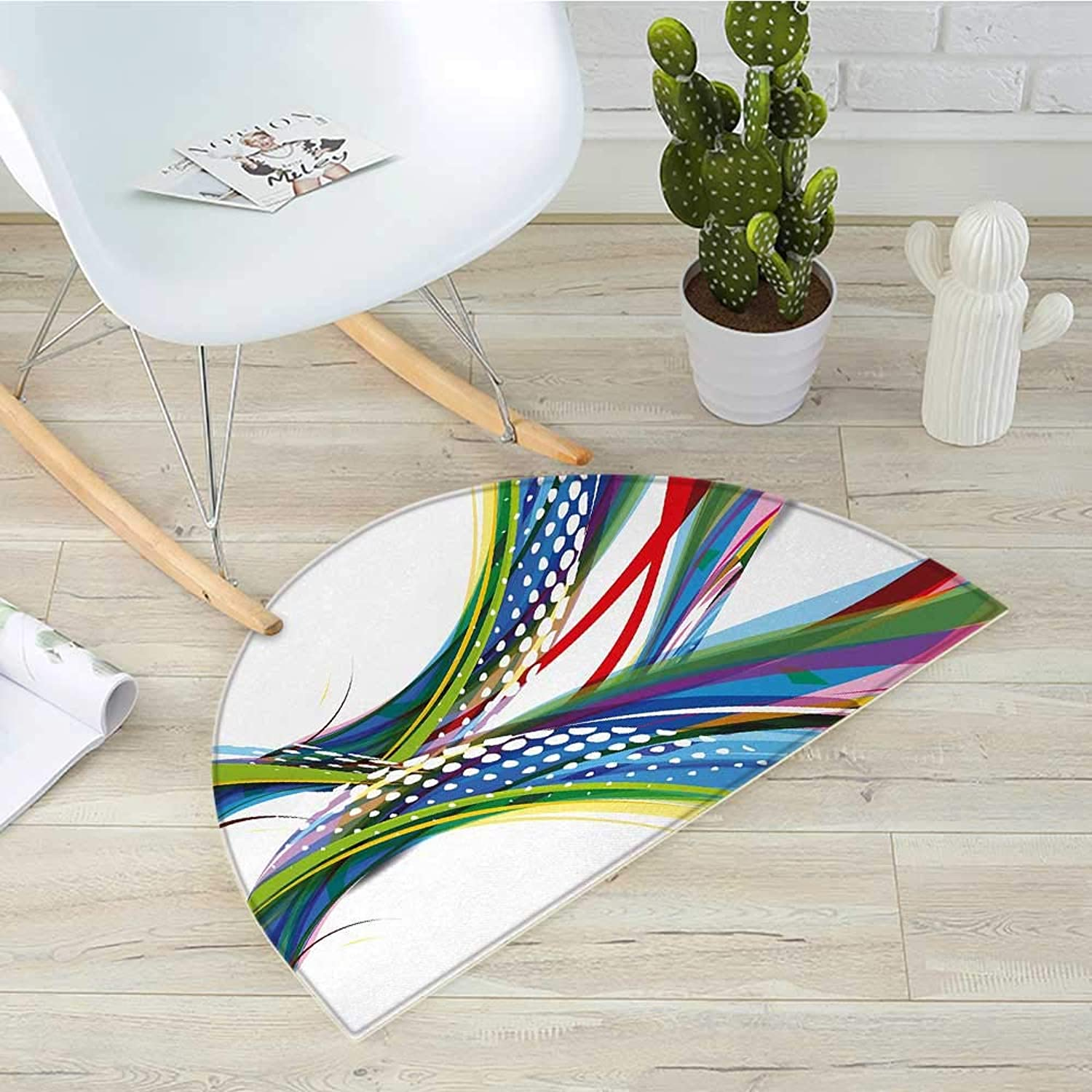 colorful Semicircle Doormat Active Sports Inspired Digital Wave Like Abstract and Ombre Vivid Modern Image Halfmoon doormats H 39.3  xD 59  Multicolor