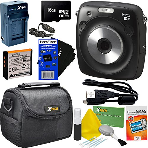 Fujifilm Instax Square SQ10 Hybrid Instant Camera + 16GB Memory Card + Protective Carrying Case + 6pc Accessory Kit w/HeroFiber Ultra Gentle Cleaning Cloth