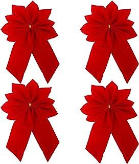 Azude Red Velvet Christmas Bows Ornaments, 4 pcs