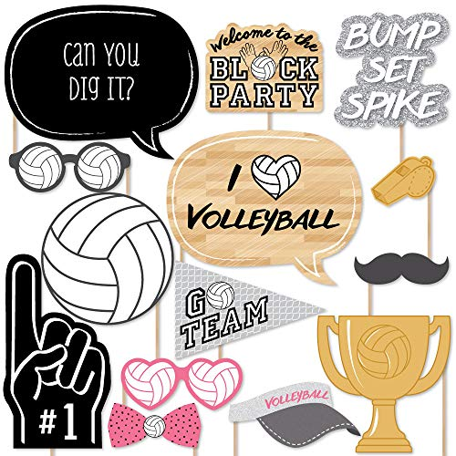 Big Dot of Happiness Bump, Set, Spike - Volleyball - Photo Booth Props Kit - 20 Count