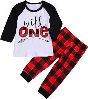 Clearance On Sale Litetao Toddler Baby Boys Girls Christmas Pajamas Set Long Sleeve Tops Plaid Long Pants Outfits Xmas Gifts