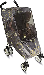 New 2019 Design Universal Stroller Weather Shield/Rain Cover with UV-Protection, Large Zippered Window, and Accessories Compartment, Gold Circles on Grey