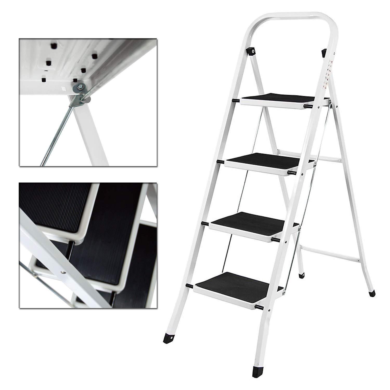 Escalera de acero de 4 peldaños, portátil, plegable, resistente, antideslizante, portátil, 150 kg de capacidad de carga: Amazon.es: Bricolaje y herramientas