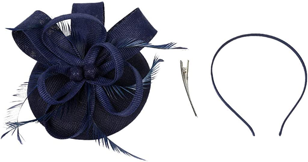 Sayhi Feather Fascinator Hat Flower Cocktail Hair Clip Women Tea Party Hat Kentucky Derby Hat for Girls