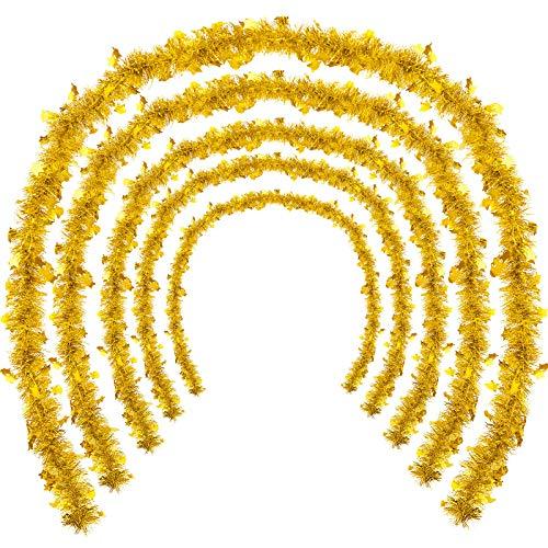 WILLBOND 5 Stück Weihnachten Lametta Girlande Stern Glänzend Glitzer Party Hängende Weihnachtsbaum Lametta Girlande mit Sternen für Weihnachtsbaum Party Dekoration Festliche Verzierung (Gold)