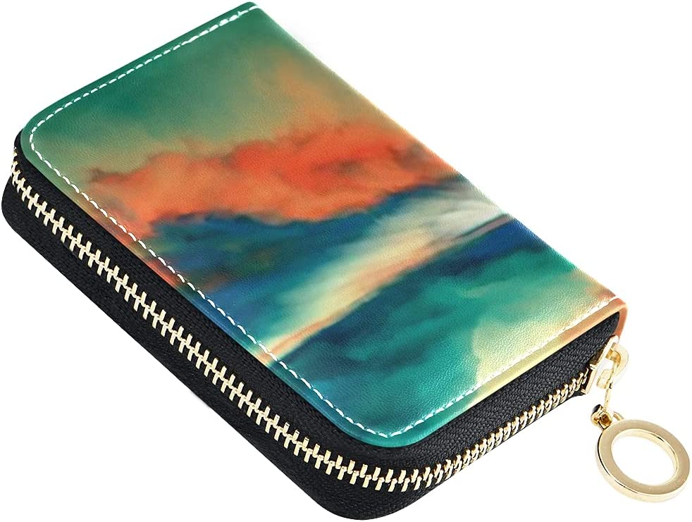 Card Wallet Sunsets Never Series Sacramento Mall Small Landscape Virtual Paint Genuine