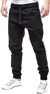 Lenfesh Pantalones de chándal para Hombres Pantalones de Jogging elásticos Casuales Deporte Color sólido Cintura elástica Cordón Bolsillos Holgados Pantalones Sueltos