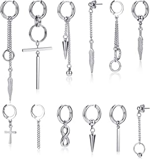 Hoop Dangle Earrings for Men Women 12 Pieces Surgical Steel Huggie Hinged Dangle Hoop Earrings silver Long Chain Pendant E...