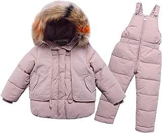 Baby Kids Winter Warm Down Coat Girl Boy Long Sleeve Plush Hooded Outerwear Jacket Child Down Bib Pants Romper Set (Pink, 9-10 Years)