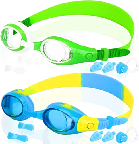 COOLOO Kids Swim Goggles, Pack of 2, Swimming Glasses for Children and Early Teens from 3 to 15 Years Old, Anti-Fog, ...