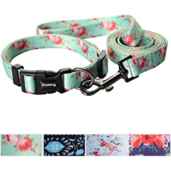 Ihoming Dog Collar and Leash Combo in Bohemia, Morocco, Floral and Dot Style Fit Small, Medium and Large Pet