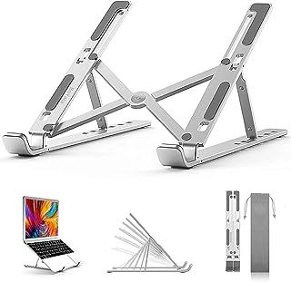 BoYata laptopstandaard, 6 niveaus in hoogte verstelbare draagbare laptophouder voor bureau, aluminium opvouwbare laptopris...