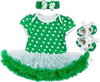 ST. Patrick's Day Outfit Tutu Dress for Baby Girls T-Shirt Dress Set Pack of 3