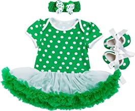 Amberetech ST. Patrick's Day Outfit Tutu Dress for Baby Girls T-Shirt Dress Set Pack of 3