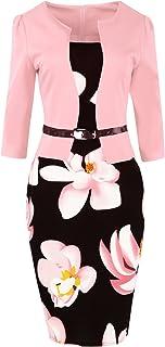 MisShow Damen 3/4 Arm Etuikleider 1950er Jahre Businesskleid Stretch Cocktailkleider Knielang Gr.S-4XL