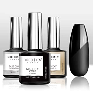 Matte Top Coat High Gloss Top Coat Base Coat Set,0.33 OZ No Wipe Top Coat UV LED Gel Nail Polish Nail Lamp Soak Off Varnish 3Pcs 10ml by Modelones