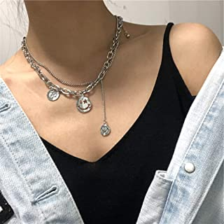 YERTTER 2 Tier Heavy Gothic Grunge Smile Pendant Necklace Statement Short Chain Punk Multilayer Steel Material Choker Neck...