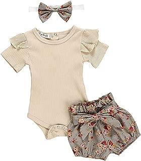2PCS Waymine Newborn Baby Girl Flower Long Sleeve Romper+Hat Bodysuit Outfit Set