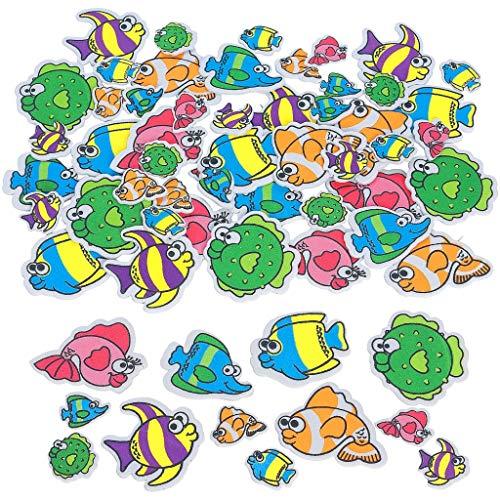 Elfen und Zwerge 107 Sticker (3 Bögen) Moosgummi Fisch Aufkleber Ozean Meerestiere Wasser Meer Urlaub Clownfisch Aquarium Kindergeburtstag