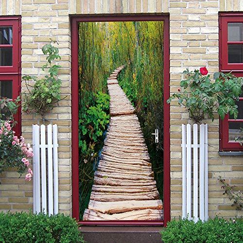 Puerta Pegatinas Mural Puente Colgante de Madera En El Bosque Papel Pintado Arte Decoración del hogar 86x200cm