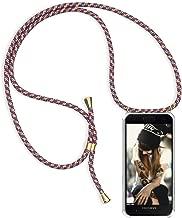 Funda con Cuerda para Apple iPhone 7/8, Carcasa Transparente TPU Suave Silicona Case con Correa Colgante Ajustable Collar Correa de Cuello Cadena Cordón para iPhone 7/8 - Rojo